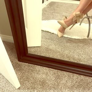 Faux Suede Nude Qupid D'orsay Bow Heels